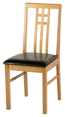 Seconique Vienna Chair, Medium Oak Effect/Brown Faux Leather, 424.95x914.95x124.95 cm