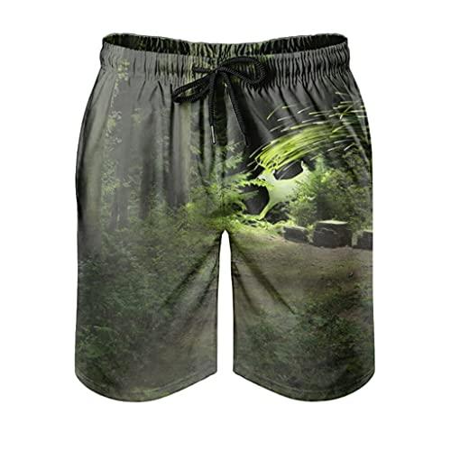 kikomia Bañador para hombre Fantasy verde, ciervo, bosque, estampado retro, pantalones de playa, con bolsillos, blanco, M