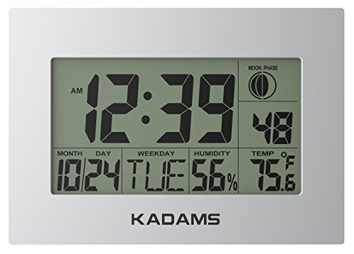 KADAMS Digital Wall Clock with Alarm, Seconds Counter, Snooze, Calendar Date Day, Indoor Temperature, Humidity, Moon Phase, Large Display, Shelf and Desk Clock Stand, Non Atomic, No Backlight - SILVER