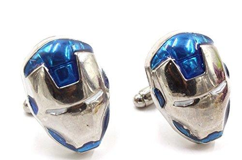 Gemelolandia | Gemelos de Camisa Iron Man Tonos Azules Gemelos Originales Para Camisas | Para Hombres y Niños | Regalos Para Bodas, Comuniones, Bautizos y Otros Eventos