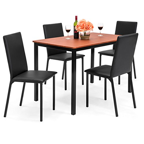 Best Choice Products Rectangle Dining Table Furniture Set w/ 4 Faux Leather Chairs, 5-Piece, Black