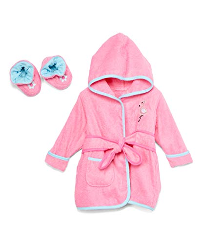 Spasilk 100% Cotton Hooded Terry Bathrobe With Booties, Pink Flamingo