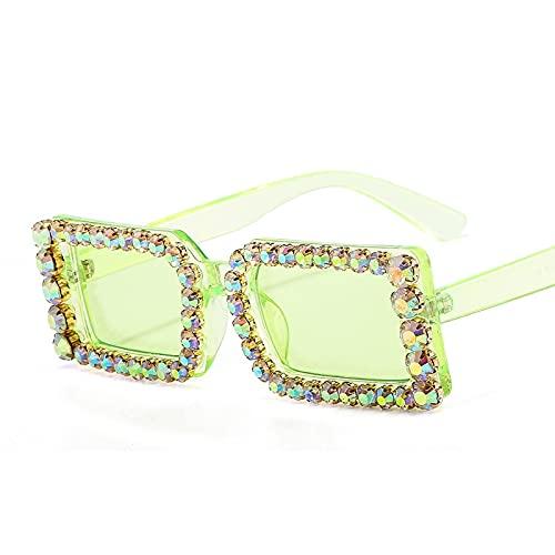 XINMAN Moda Gafas De Sol Cuadradas Pequeñas con Personalidad para Hombres Y Mujeres Gafas De Sol con Incrustaciones De Diamantes De Moda De Lujo Parasol Espejo Verde Transparente