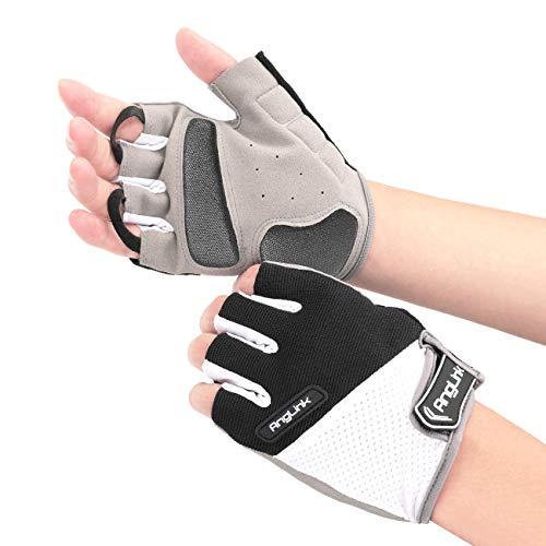 AngLink Fahrradhandschuhe Kletterhandschuhe Fingerlos Fitness Handschuhe Atmungsaktiv Rutschfestes Stoßdämpfende Radsporthandschuhe für MTB Fitness Damen und Herren L