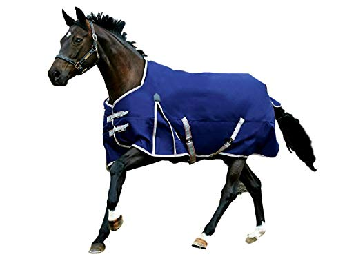 Weatherbeeta Comfitec Essential - Lightweight Horse Blanket Sheet 600Denier, Waterproof & Breathable Standard Neck Turnout Sheet - Great for Spring & Summer - Navy/Silver 81'