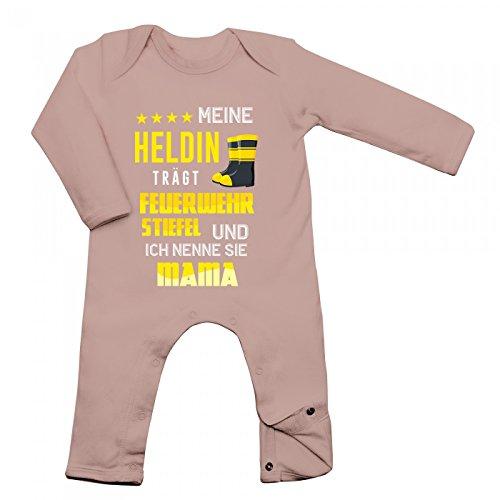 Feuerwehrfrau Babybody Berufe Follow Your Dreams Traumberuf Langarm Langärmliger Strampler, Farbe:Babyrosa (Powder Pink BZ13);Größe:6-12 Monate