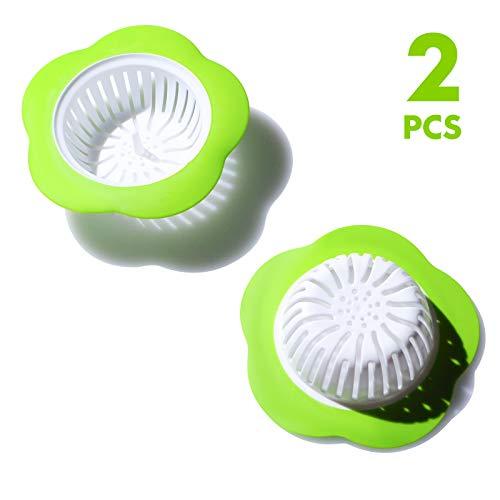 2 Stks Bloem Keuken Sink Strainers Plastic Afvoer Mand Filter Badkamer Haar Plug Stopper Groen