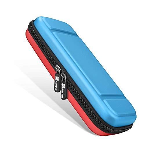 FINTIE Etui pour Nintendo Switch - Sacoche de Rangement Zippée Anti-Choc Housse de Transport en EVA, Sacoche de Voyage Console avec 10 Emplacements Cartes de Jeu, Bleu-Rouge