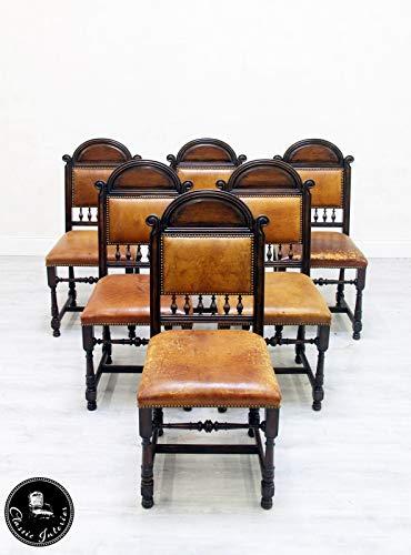 Classic Interior 6 Stühle Gründerzeit Leder Vintage Antik Industrie Stilmöbel
