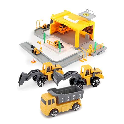 CHUAN YUAN-TOY Jouet for Enfants Set Voiture avec Voiture de Police, Pompier, ingénierie de Voitures, 4 pièces Parking modèle Lot, Convient Jouets for Enfants (Color : Yellow)