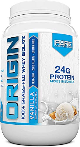 Pure Label Nutrition 100% Grass-Fed Whey Protein Isolate, 2lb Vanilla, No Fat, No Lactose, Micro-Filtered, Cold Processed, GMO Free, rBGH Free, Soy Free, Gluten Free, Zero Carbs and No Sugar Added