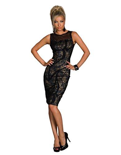 4716 Fashion4Young Sexy knielanges Damen Kleid Abendkleid Party Kleid ärmellos dress robes (XS=34=UK8, braun-schwarz)