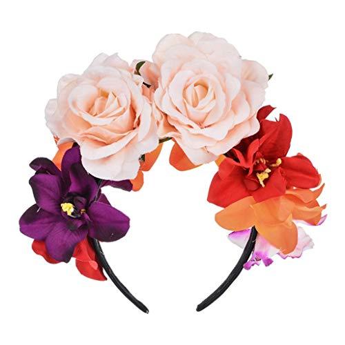 KAMONDA Hair Hoop, Diadema con Corona de Flores de Rosa simulada Mexicana para Mujer, Diadema de da de los Muertos, Tocado de Halloween, aro de Pelo de Fiesta de estambre Falso Colorido