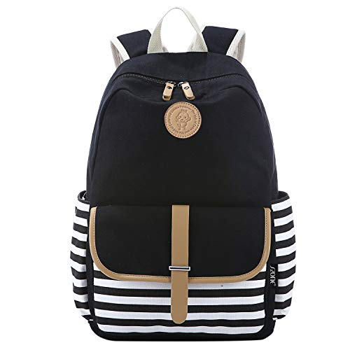 S-ZONE French Breton Nautical Striped Backpack Rucksack Marine Sailor Navy Stripy School Bags for Teenager Girls (A-Black)