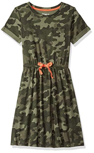 Amazon Essentials Toddler Girl's Short-Sleeve Elastic Waist T-Shirt Dress, camo with Coral Bow, 4T