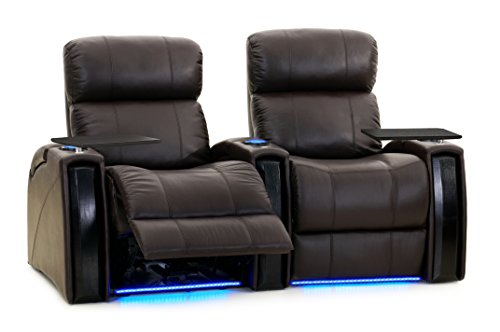Octane Seating Nitro XL750 Home Theater Recliner - Brown Leather - Power Recline - Row of 2 Seats - Lighted Cup Holders - Storage Arms - Memory Foam