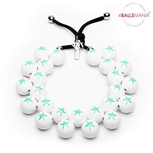 Collar elástico fabricado con esferas de resina de color blanco con estrella...