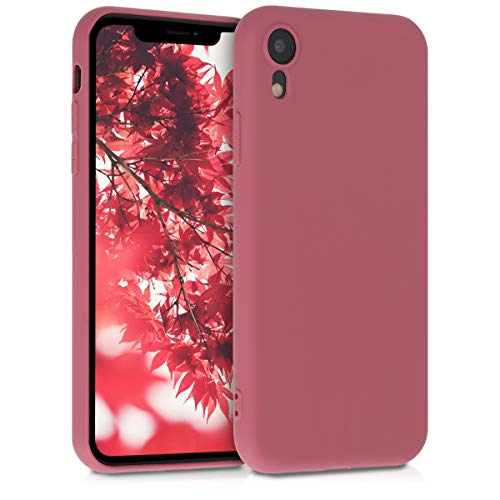 kwmobile TPU Silicone Case Compatible with Apple iPhone XR - Soft Flexible Protective Phone Cover - Deep Rusty Rose