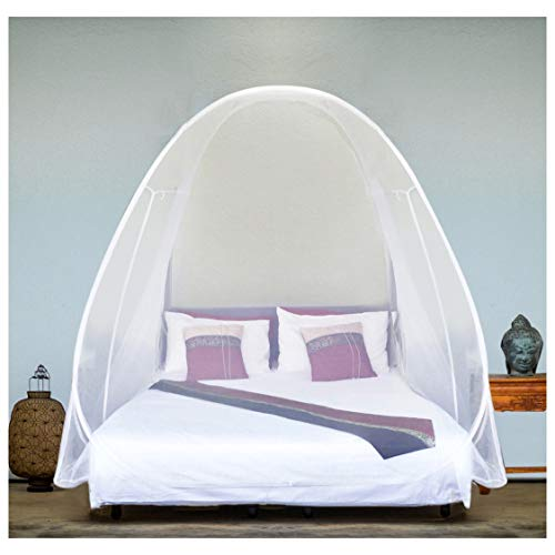 EVEN NATURALS Luxury Pop Up Mosquito Net Tent, Large: for Twin to King Size Bed, Finest Holes, Canopy, Insect Screen, Folding Design with Bottom, 2 Entries, Easy to Install, Storage Bag, No Chemicals