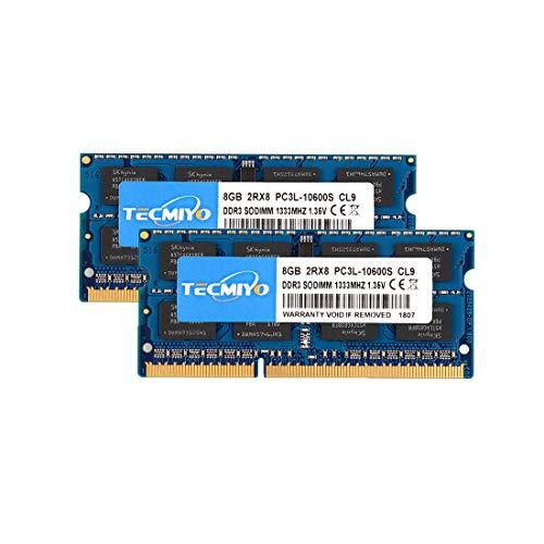 TECMIYO 16GB Kit (2X8GB) PC3L-10600S DDR3/DDR3L 1333MHZ Sodi