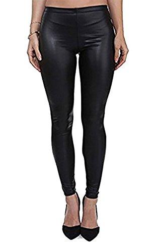 PrettyFashion Damen-Kunstleder-Leggins, Wet-Look, matt, elastischer Bund, Größen 36–50 Gr. 55/58, matte black