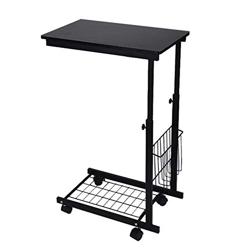 Mesa de café, escritorio para ordenador, mesa baja de salón con ruedas de madera y hierro negro, mesa para ordenador fácil de montar, altura regulable 60-80 cm
