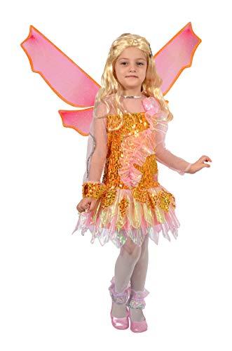 Ciao- Stella Tynix Costume trasformazione Winx Club Bambina, 4-6 Anni, Arancione, Rosa, 11237.4-6