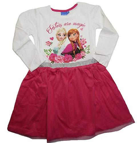 Frozen - Die Eiskönigin Mädchen Langarm Kleid mit Tüll Kinder Langarmshirt Anna & ELSA (weiß/pink, 116)