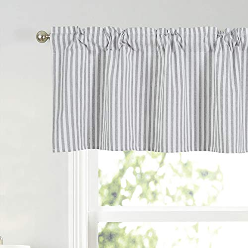 Annlaite Stripes Textured Drapes Stripe Pattern Valance Curtains Light Reducing Window for Living Room/Bedroom/Kitchen Rod Pocket Valance 52 by 18 Inch Gray