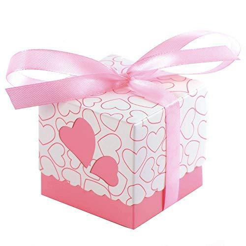 JZK 50 x Rose cajas de corazón cajita regalo bautizo con cinta para caramelos regalo bombones recuerdos bautizos bodas para boda cumpleaños fiesta bienvenida bebé sagrada comunión detalle