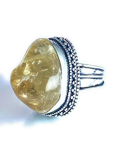Oak Island Gems - Anillo de plata de ley con citrino bruto, talla 7 1/2 o 1/2