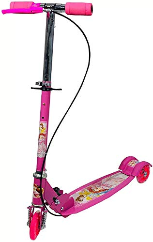 RSKE Road Runner Scooter for Kids of 3 to 14 Years Age 3 Adjustable Height, Foldable, LED PU Wheels & Weight Capacity 75 kgs Kick Scooter with Brakes (pinkColour)