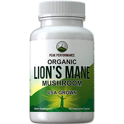 Organic Lions Mane Mushroom Capsules - USA Grown + Vegan Organic Lion's Mane Nootropic Supplement for Memory, Focus, Brain Health, and Immune Support. Lion Mane Mushrooms Extract 60 Pills