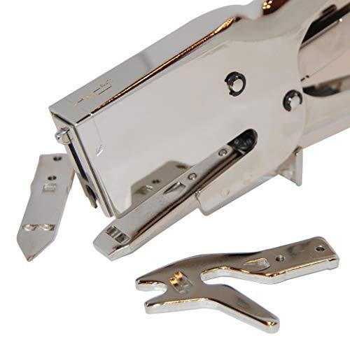 Grapadora de Tenaza Metálica MG 31 Grapa ancha para cartón + 5.000 Grapas 73 + 2 Remachadores más