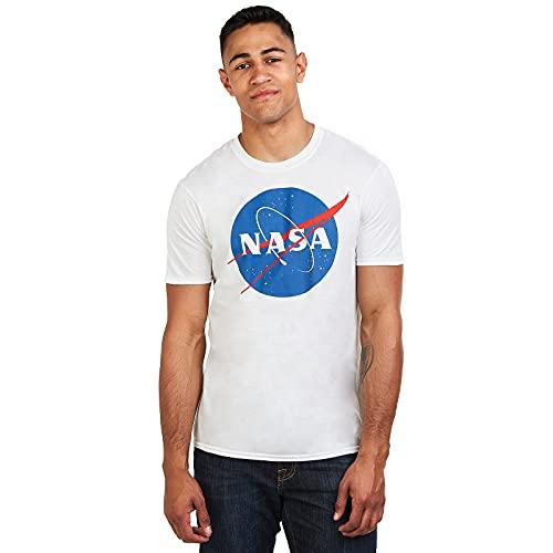 Nasa Herren Circle Logo T-Shirt, Weiß (White White), Large