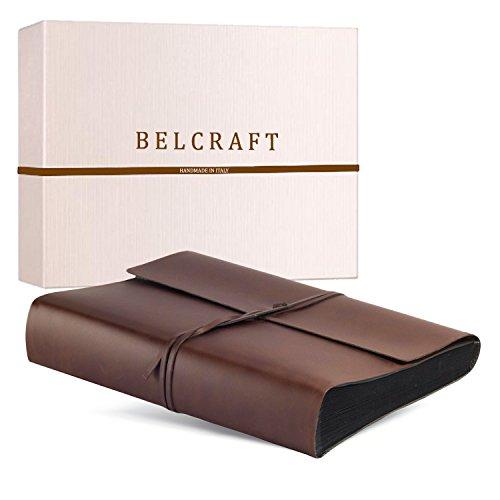 Vietri Fotoalbum aus recyceltem Leder, Schwarze Seiten, Handgearbeitet in klassischem italienischem Stil, Geschenkschachtel inklusive, A4 (23x30 cm) Braun