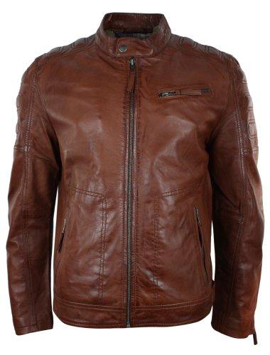 Veste Homme Blouson Biker Motard Marron Clair cintré avec Poches zippées Style rétro Cuir véritable