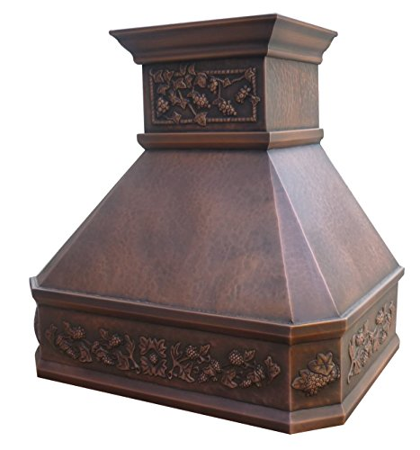 """SINDA Natural Beautiful Copper Kitchen Hood, Handcrafted by Skilled Artisan, Comes with High Air Flow Motor Fan, 42""""Wx39""""H, Smooth-Antique Copper, Island Mount, H14LA-SCI4239 5 SIZE: Island Mount 42""""Wx39""""H.The width of an island mount copper range hood should be 3-6 inches wider than the cooktop. And the height range between your cooktop and the copper range hood should be from 30 to 36 inches. We suggest a height of 36 inches for an island mount. Custom sizes available upon request by email. Material: 16 gauge pure virgin copper. PATINA&TEXTURE: Smooth; Antique Copper. Want to touch a real finish? You may click on this link: https://www.amazon.com/dp/B07Q3FS4NQ. BASIC EQUIPMENT: Stainless Steel 304 Vent with Liner and Internal Motor, Reusable Baffle Filter, Grease Channel, Yellow LED lights(3W 12V) and 4-Speed Control; Powerful Airflow Fan: (30""""/36""""W: single motor, 610 CFM, 6"""" round duct; 42""""/48""""W: dual motors, 960CFM, 8"""" round duct); Ductless and remote blowers with In-line liner options available upon request by email;"""