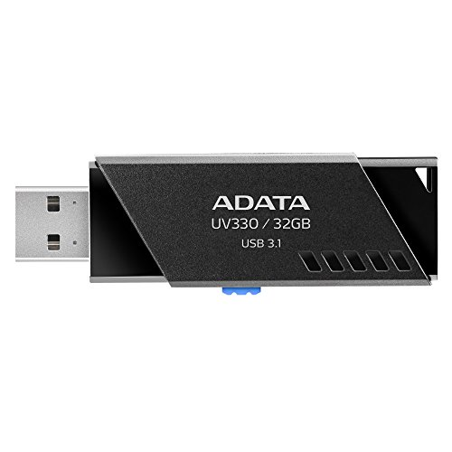 ADATA 32 GB Memoria Flash USB 3.1 Deslizable Color Negro con Azul (Modelo UV330)