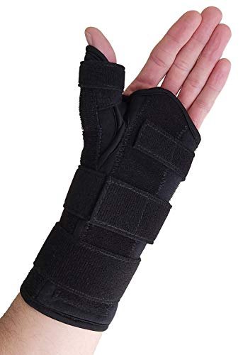 Thumb Spica Splint & Wrist Brace – Both a Wrist Splint and Thumb Splint to Support Sprains, Tendinosis, De Quervain's Tenosynovitis, Fractures or Trigger Thumb Hand Brace for Carpal Tunnel (Left S/M)