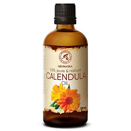 Olio di Calendula 100ml - Calendula Officinalis - Oli Naturale 100% - Bottiglia di Vetro - Olio Base - Olio per Viso - Corpo - Capelli - Pelle - Unghie - Massaggi - Bellezza - Benessere - di Aromatika