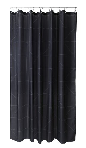 Duschvorhang Lines schwarz 180cm breit x 200cm lang Textil ohne Ringe