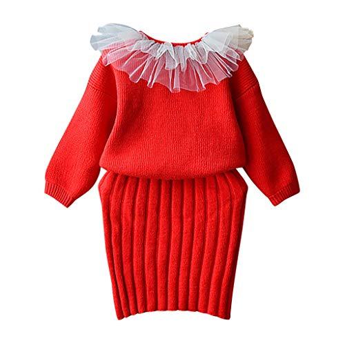 Kleinkind Kinder Baby Mädchen Outfit Kleidung Prinzessinenkleid Organza-Rundhalsausschnitt Gestrickte Pullover Mantel Tops + Rock Set