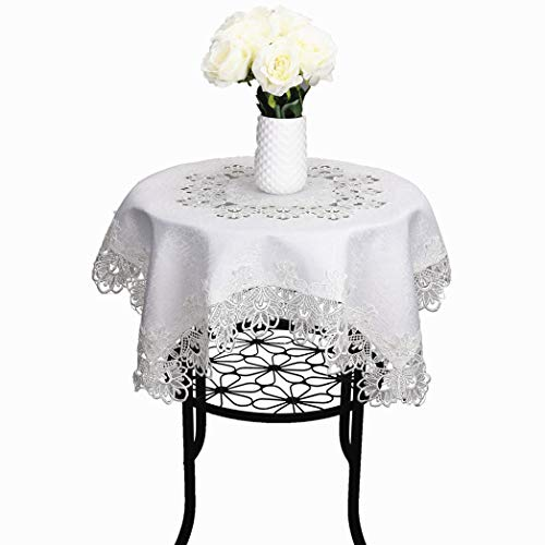 TaiXiuHome Blanco Estilo Europeo Minimalista Floral Bordado Encaje Mantel Hollow Top Decoración Plaza aprox 60x60cm