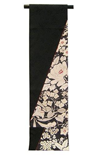 【アウトレット品】【嵐山よしむら】京袋帯 オールシーズン 百合に芍薬/黒×白×赤 リバーシブル