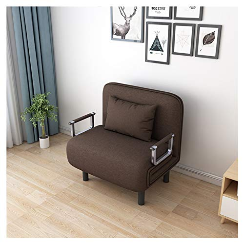 UKBK 3 in 1 Folding Single Sofa Bed for Small Space,Convertible Sofa Bed Recliner with Pillow,Modern Leisure Napping Bed Lounge Couch,Arm Chair Sleeper Chaise,for Home Office Apartment (Coffee)