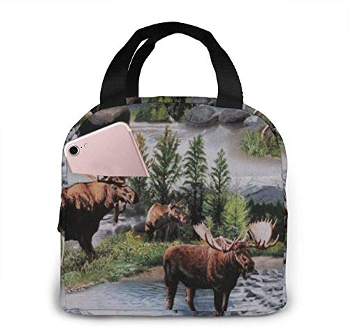 Bull Moose Nature Scenic Wildlife Animals Lake Neoprene Lunch Bag Insulated Lunch Bag Waterproof Lunch Tote Bag with Zipper