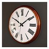 Linjolly Reloj de Pared Marco DE Madera SÓLIDO Reloj de Pared Moderno Sala de Estar Reloj de Pared Romanos Números árabes Dormitorio Cocina Reloj de Pared 15 Pulgadas Decorativo (Color : A)