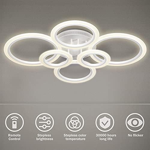 Plafoniera a LED, 6 anelli 72W Lampadario Dimmerabile Lampada dal design creativo in acrilico Illuminazione a soffitto Lampada da soffitto moderna per camera da letto Soggiorno Studio in ufficio