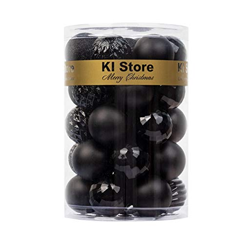 KI Store 34ct Christmas Ball Ornaments 1.57' Small Shatterproof Christmas Decorations Tree Balls for Holiday Wedding Party Decoration, Tree Ornaments Hooks Included (Black, 1.57-Inch)